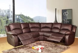 Brand New Boxed Supreme Leather Reclining Corner Sofa In Brown