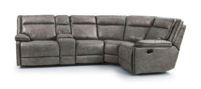 Brand New Boxed Cheltenham Reclining Corner Sofa In Dark Grey Leather