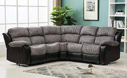 Brand New Boxed California Reclining Corner Sofa In Black/Grey