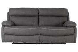 Brand New Boxed Arlo Manual Reclining 3 Seater Sofa In Grey Fabric