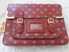 HT London Large Satchel. Burgundy With Hearts. RRP £29.99. Brand New
