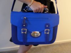 Large HT London Satchel. Navy Blue with Clasp. RRP £29.99. Brand New.