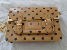 Large HT London Satchel. Apricot/Black. RRP £29.99. Brand New.