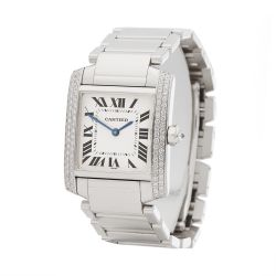 Cartier Tank Francaise WE1009S3 or 2404MG Ladies White Gold Diamond Watch
