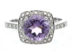 9ct White Gold Amethyst Diamond Ring