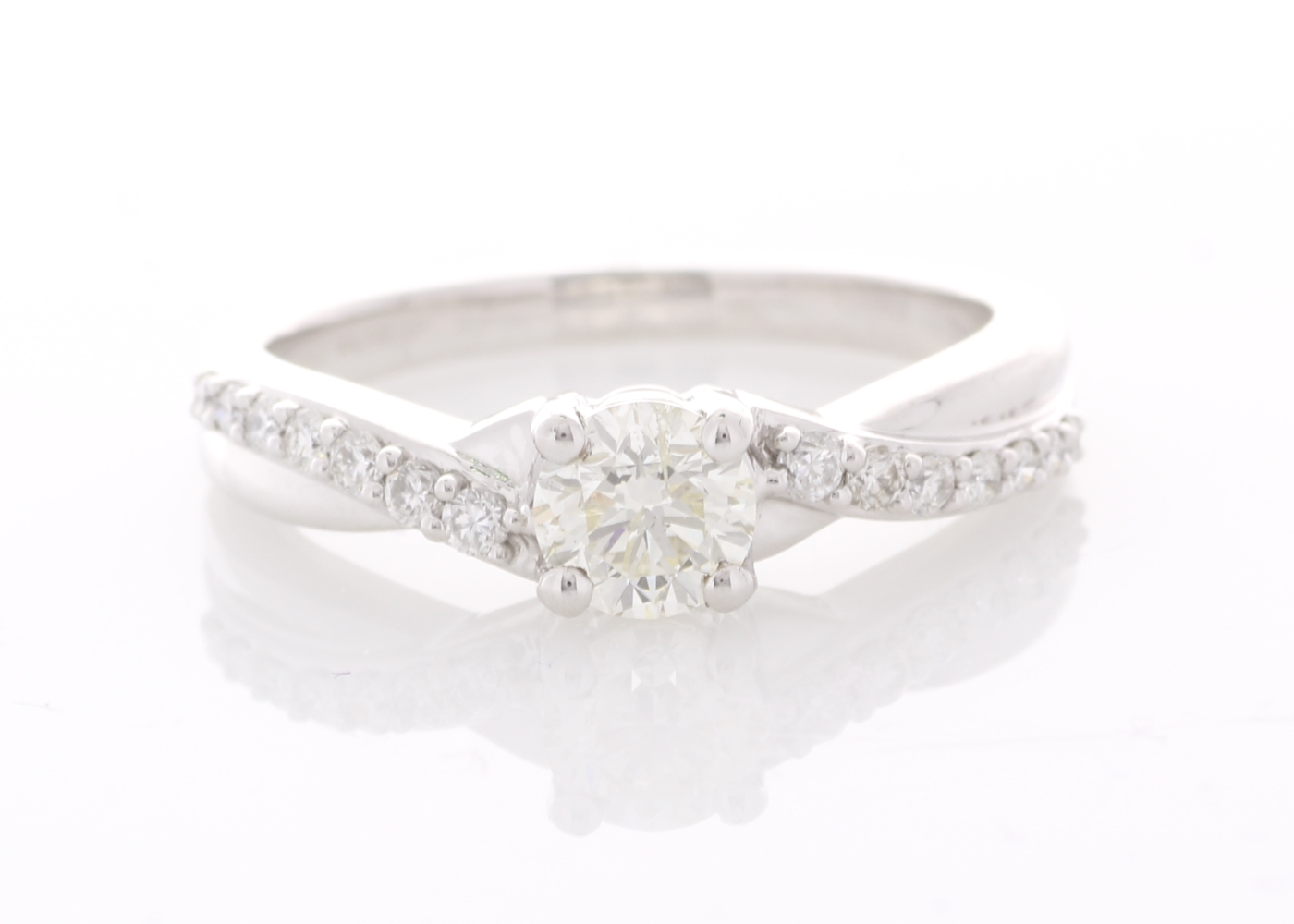 Lot 14 - 18ct White Gold Fancy Claw Set Diamond Ring 0.70 Carats