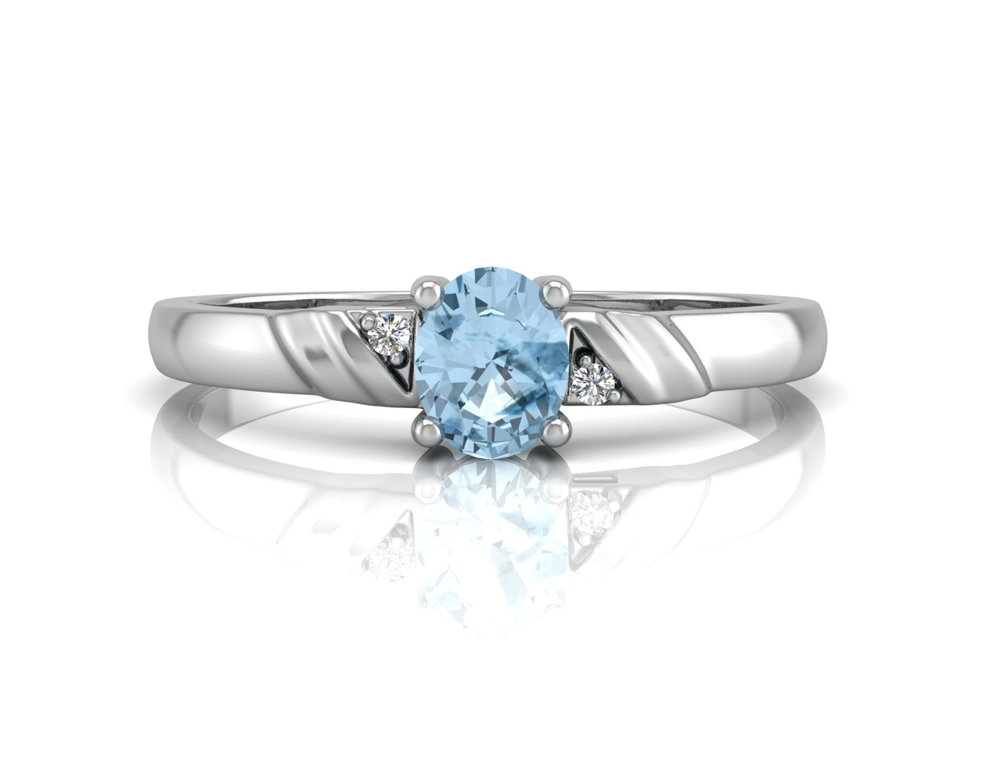 Lot 52 - 9ct White Gold Diamond And Blue Topaz Ring