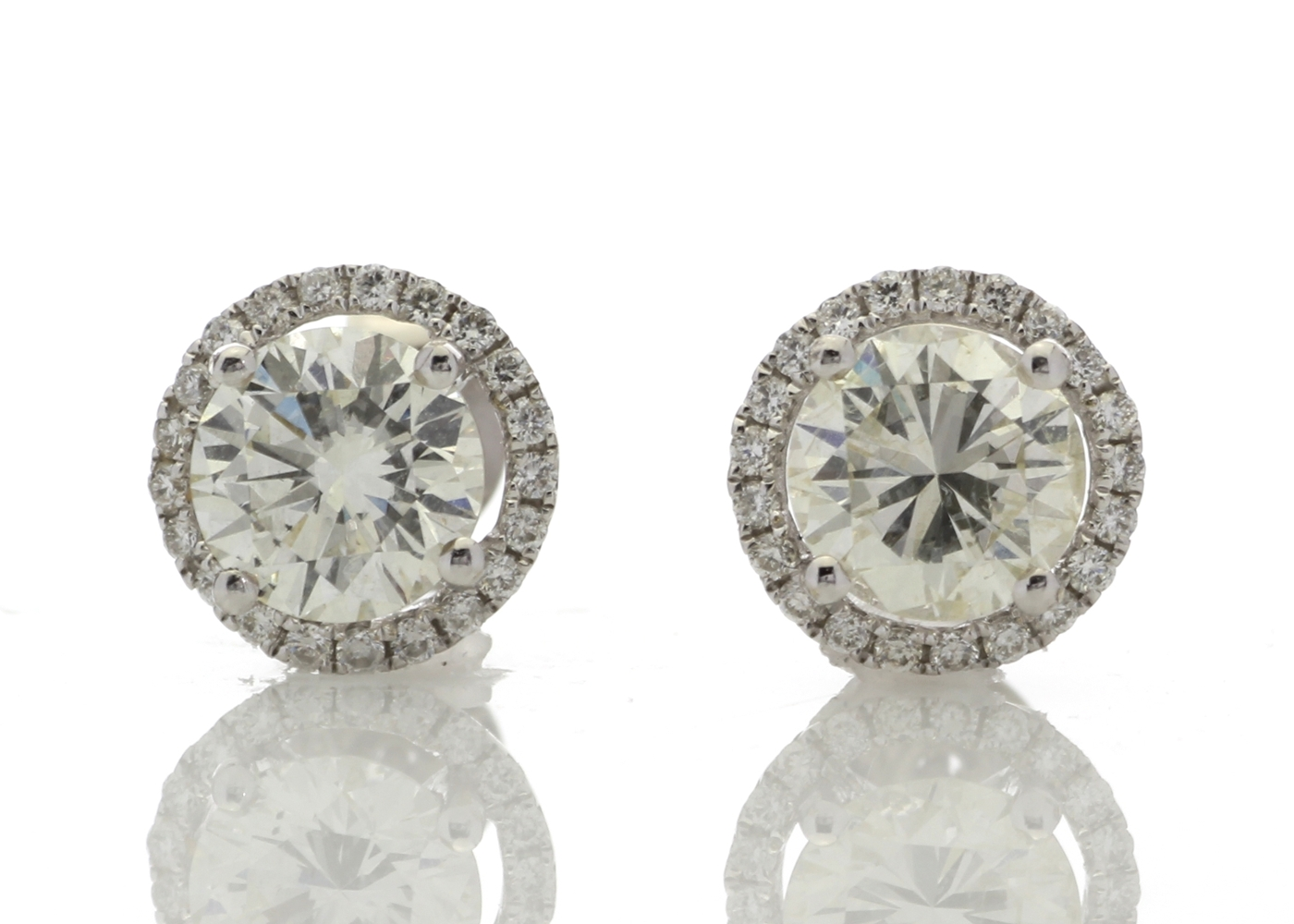 Lot 32 - 18ct White Gold Halo Set Earrings 2.26 Carats