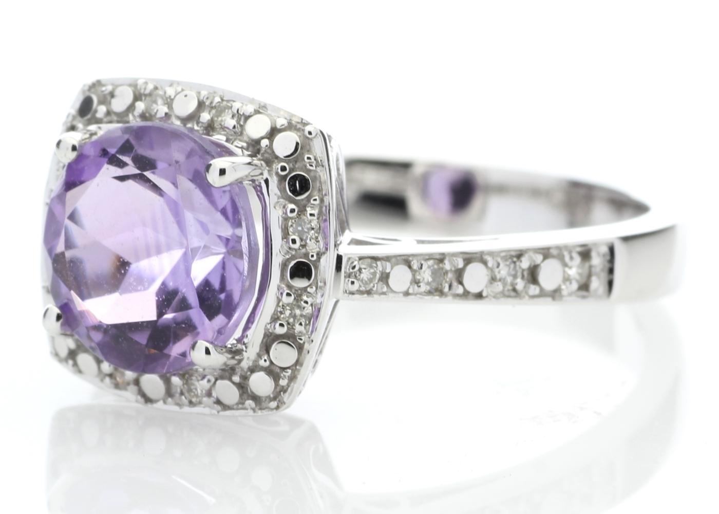 Lot 57 - 9ct White Gold Amethyst Diamond Ring