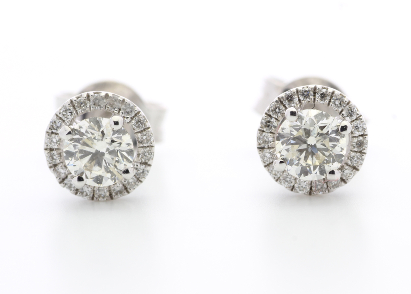 Lot 33 - 18ct White Gold Halo Set Earrings 0.65 Carats