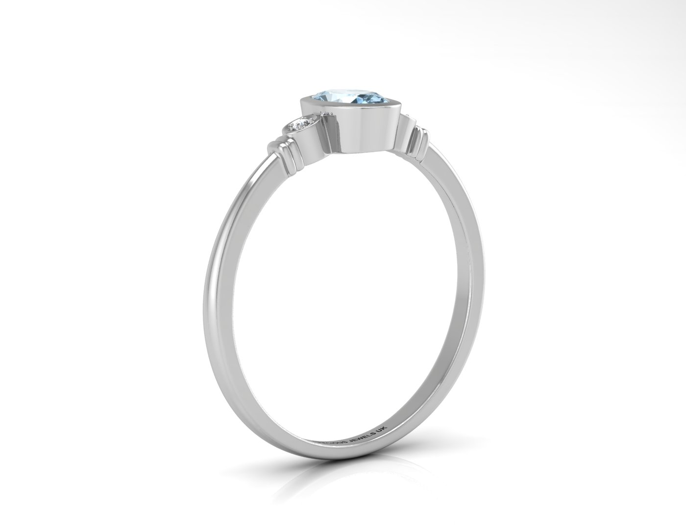 Lot 49 - 9ct White Gold Diamond And Oval Shape Blue Topaz Ring