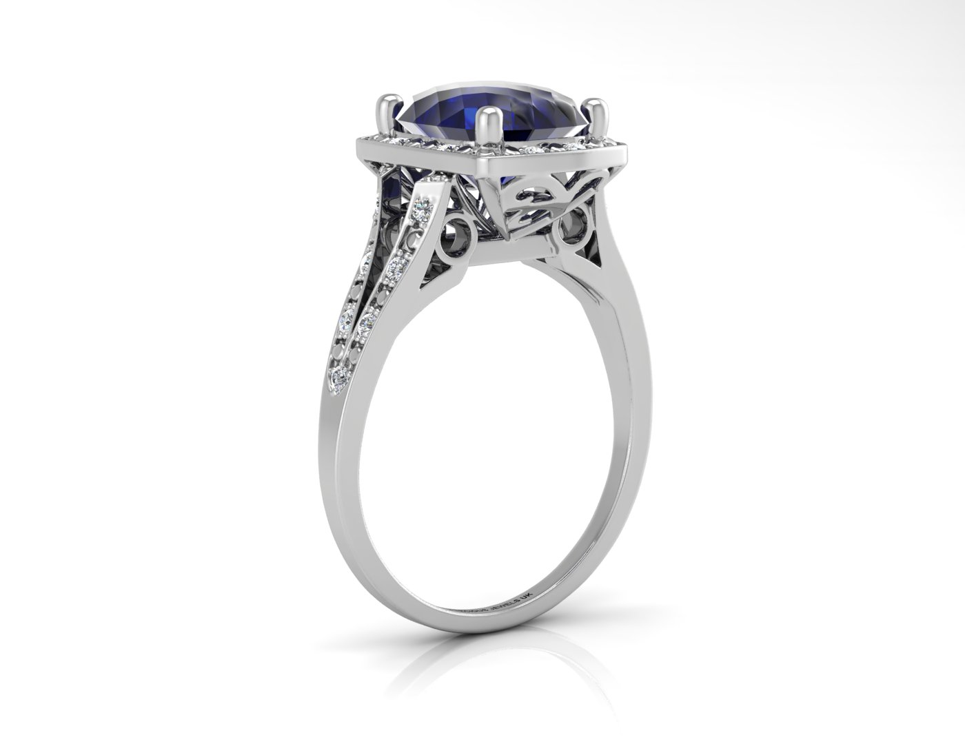 Lot 51 - 9ct White Gold Cushion Cluster Diamond And Created Ceylon Sapphire Ring