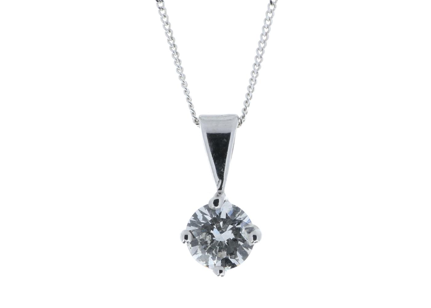 Lot 36 - 18ct White Gold Wire Set Diamond Pendant 0.80 Carats