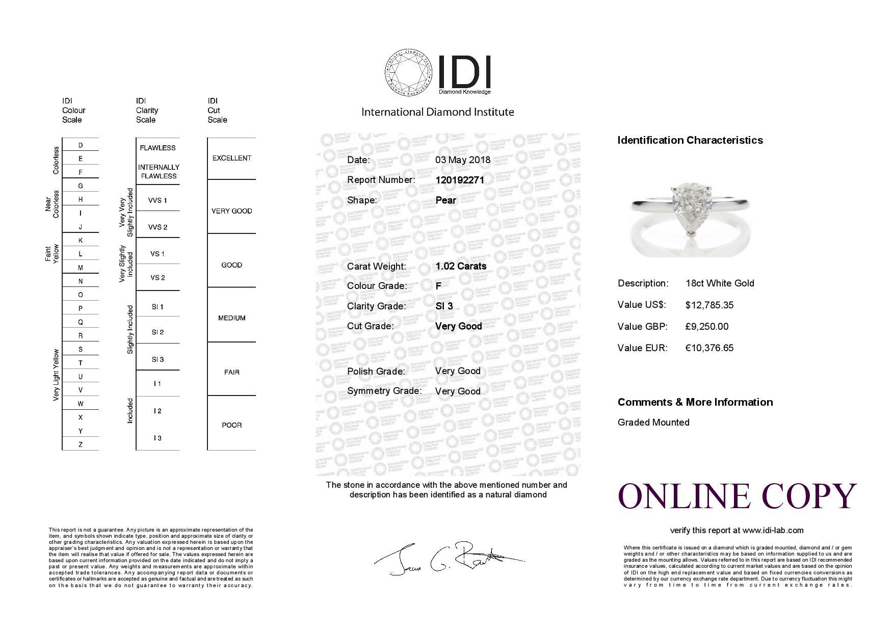 Lot 27 - 18ct White Gold Pear Cut Diamond Ring 1.02 Carats