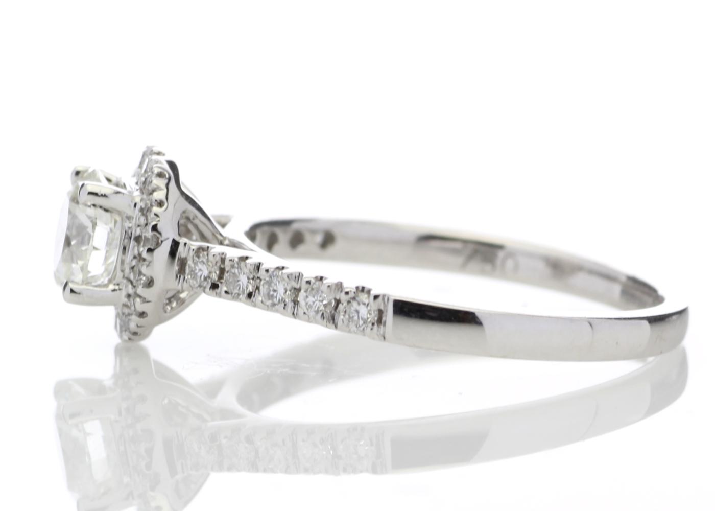 Lot 23 - 18ct White Gold Halo Diamond Ring 0.50 Carats