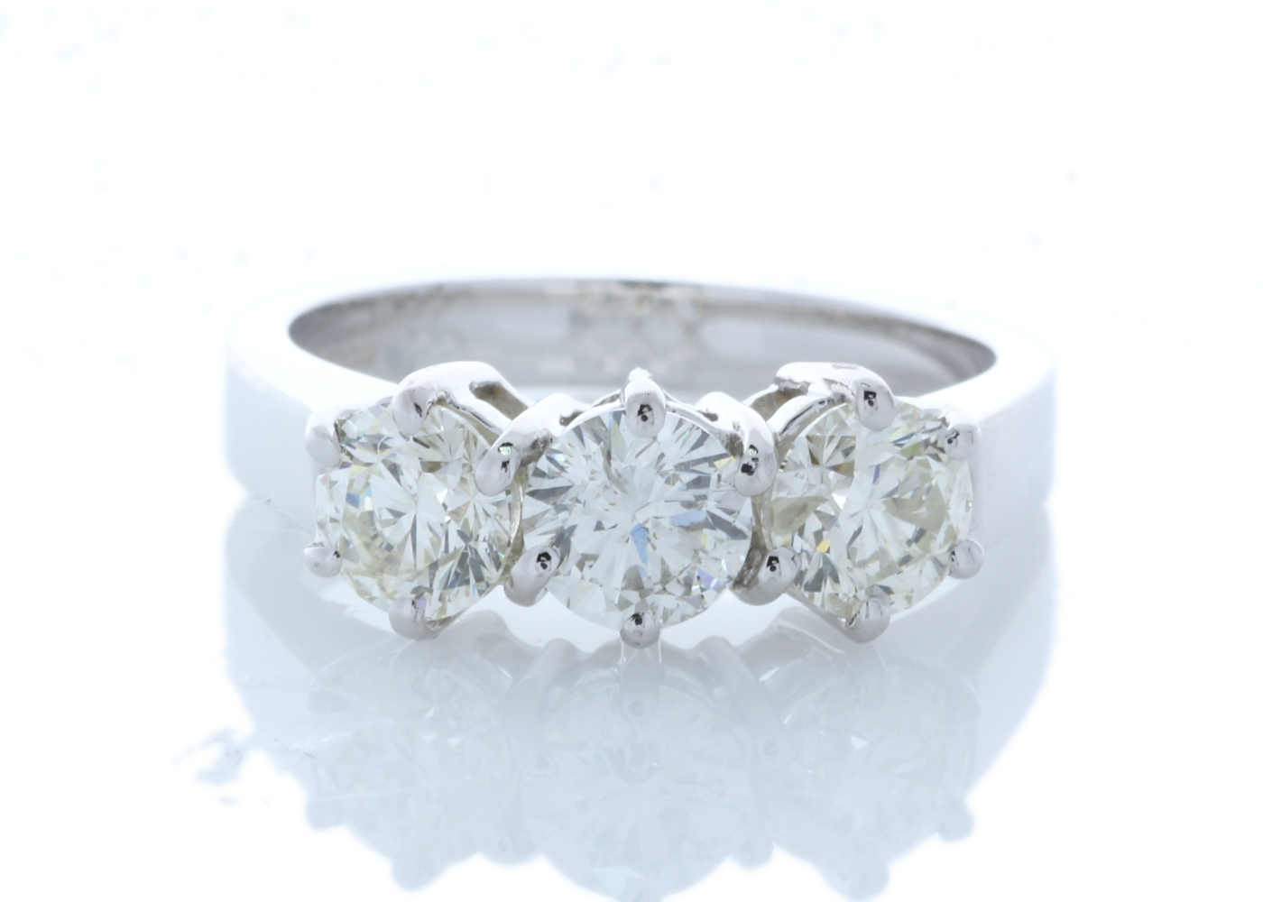 Lot 28 - 18ct White Gold Three Stone Claw Set Diamond Ring 1.52 Carats