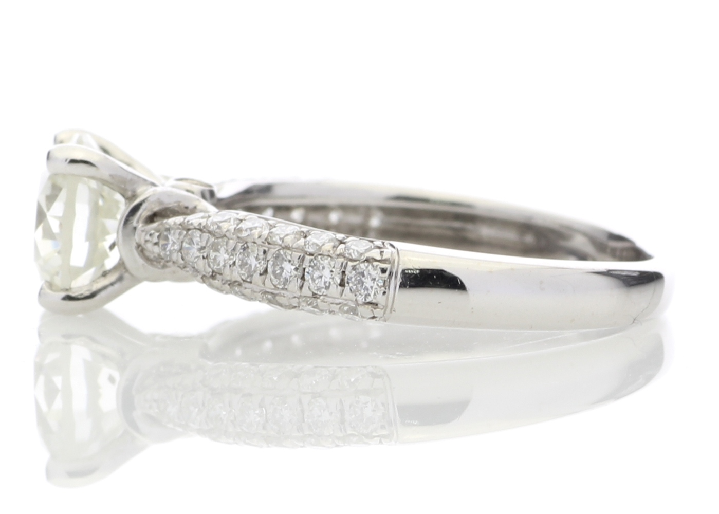 Lot 18 - 18ct White Gold Diamond Ring With Stone Set Shoulders 1.38 Carats