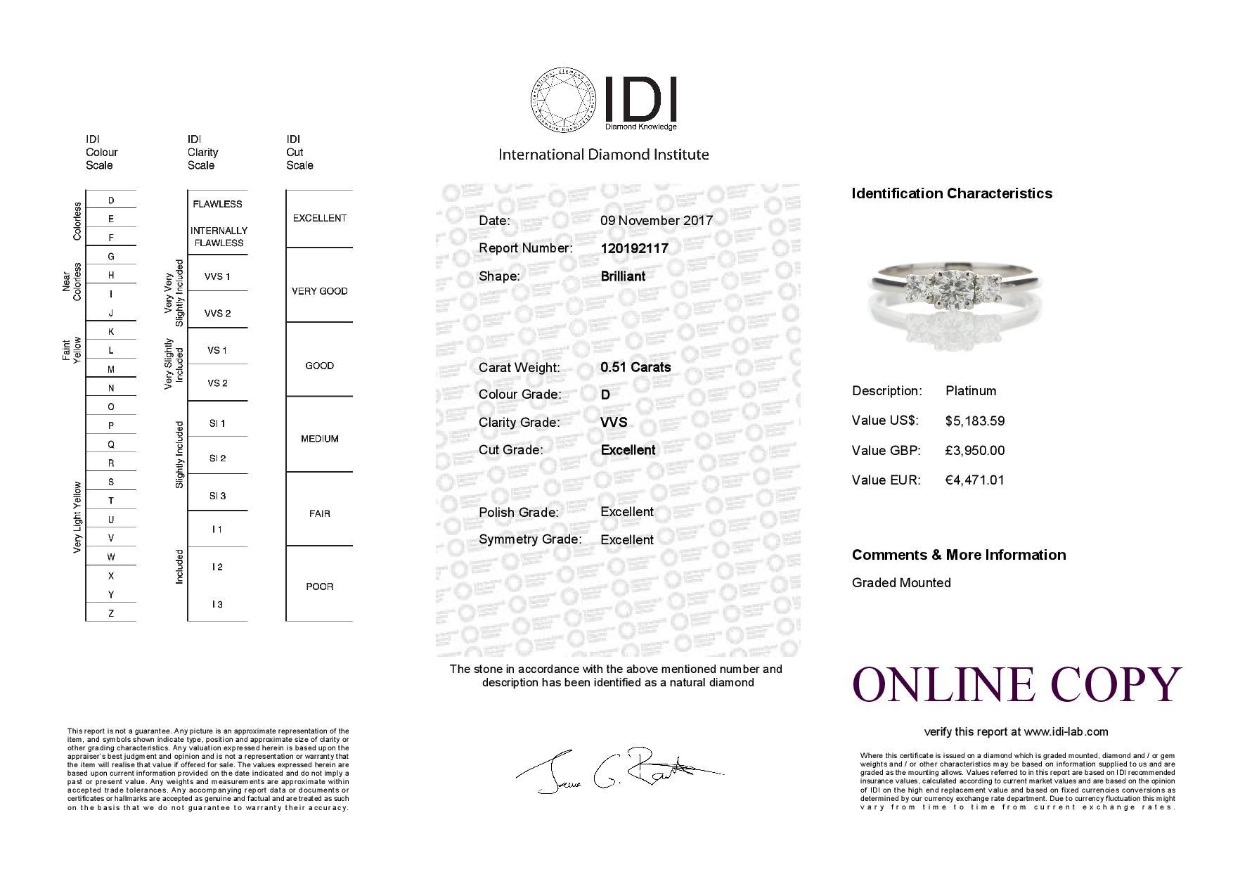 Lot 40 - Platinum Three Stone Claw Set Diamond Ring 0.51 Carats