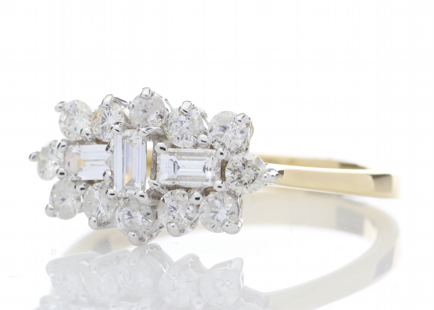 Lot 5 - 18ct Yellow Gold Boat Shape Diamond Cluster Ring 1.00 Carats