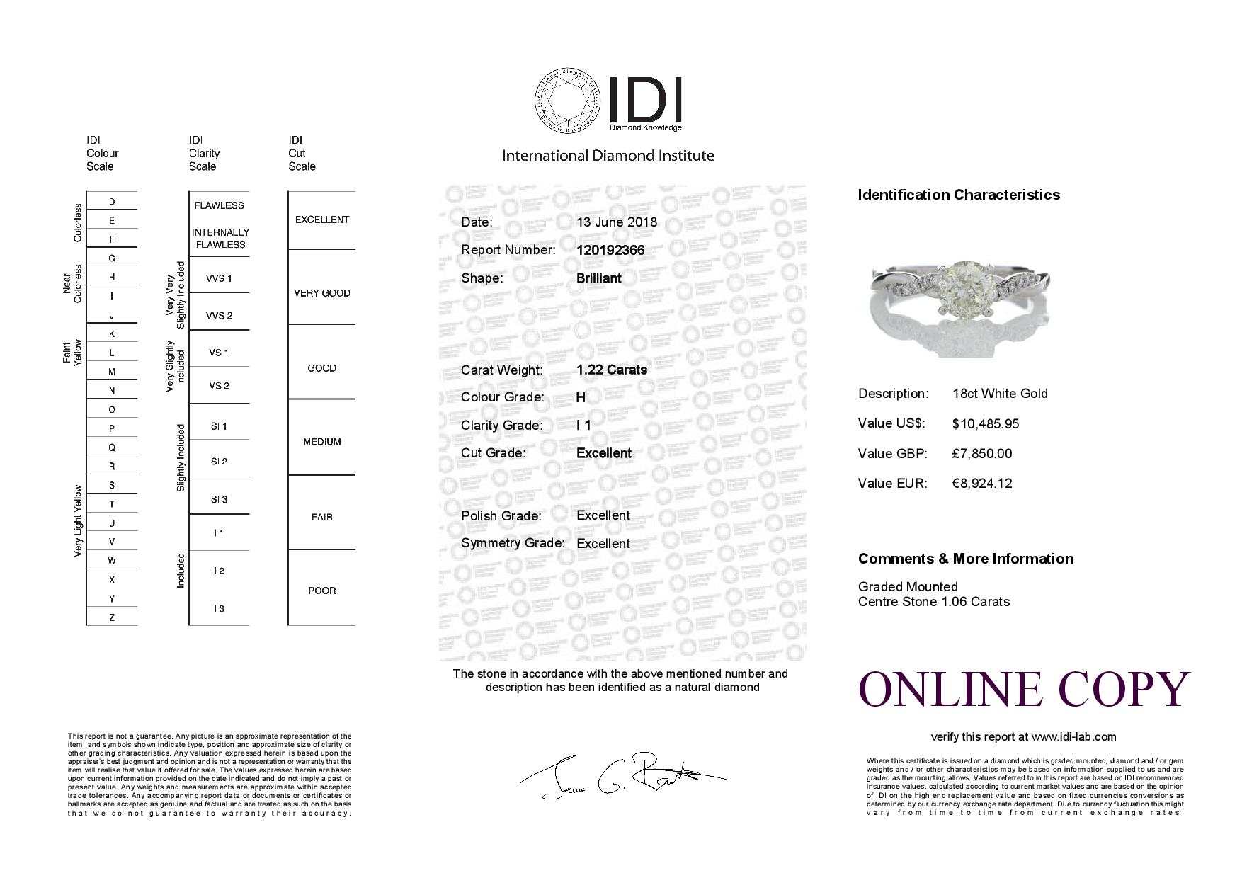 Lot 26 - 18ct White Gold Diamond Ring With Waved Stone Set Shoulders 1.22 Carats