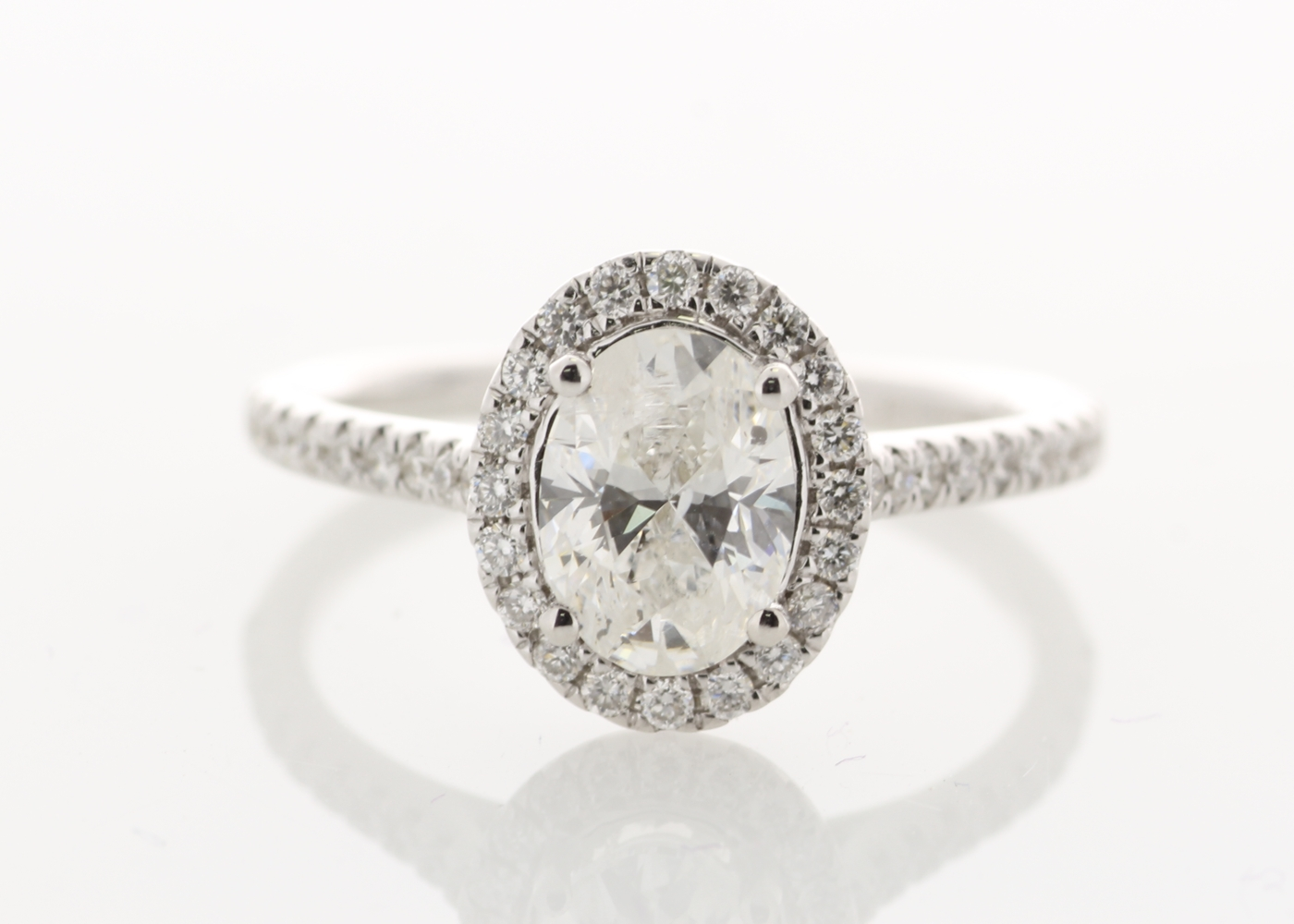 Lot 24 - 18ct White Gold Halo Set Ring 1.28 Carats