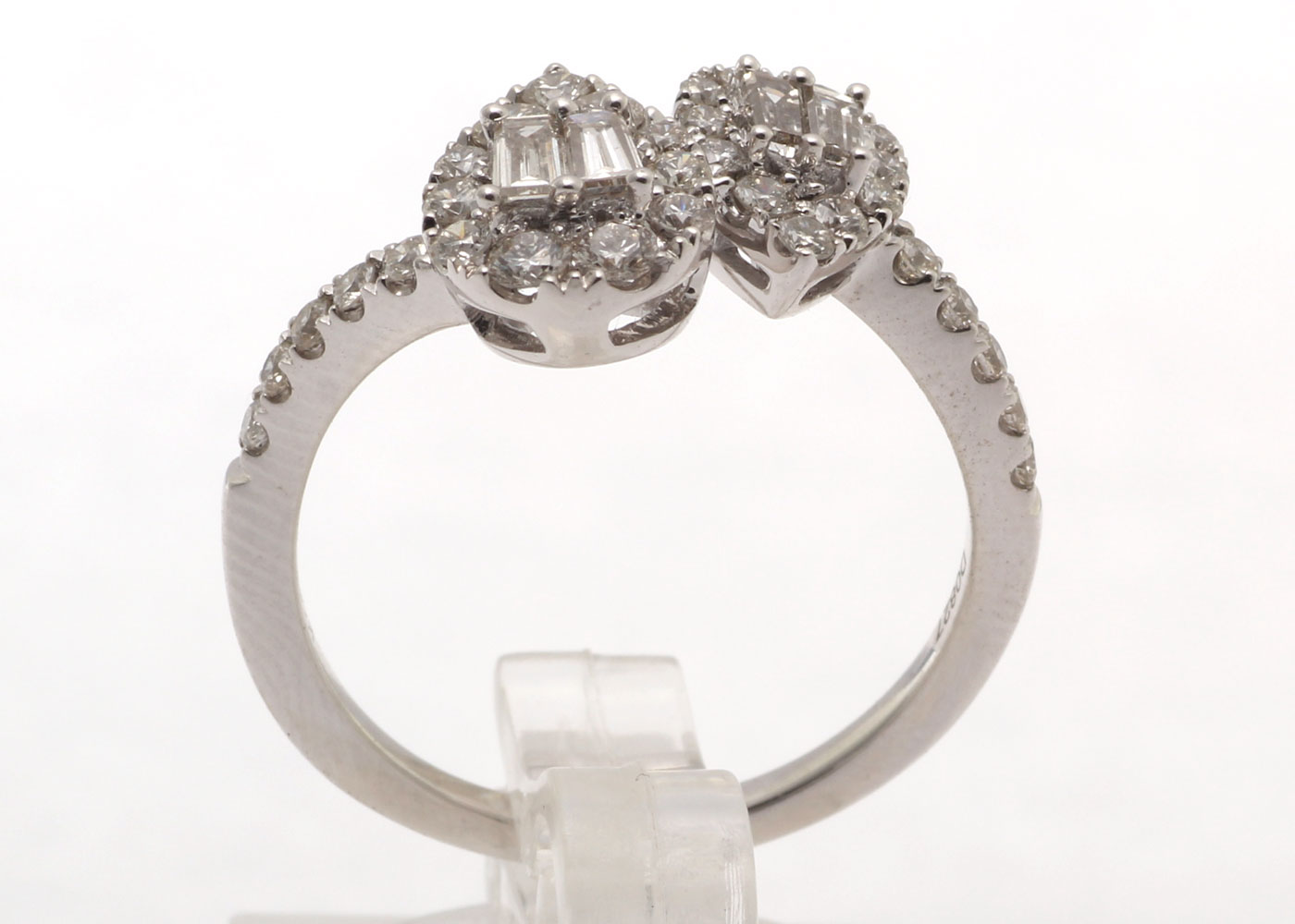 Lot 29 - 18ct White Gold Double Pear Shape Cluster Diamond Ring 0.83 Carats