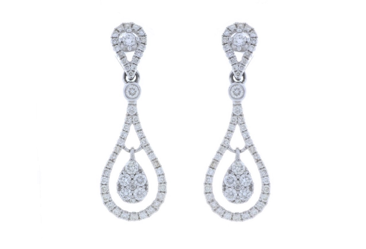 Lot 34 - 18ct White Gold Diamond Drop Earring 1.00 Carats