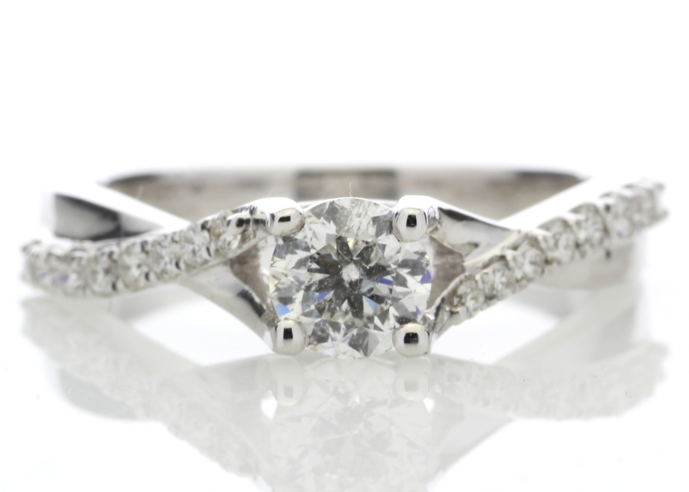 Lot 15 - 18ct White Gold diamond Ring With Stone Set Shoulders 0.72 Carats