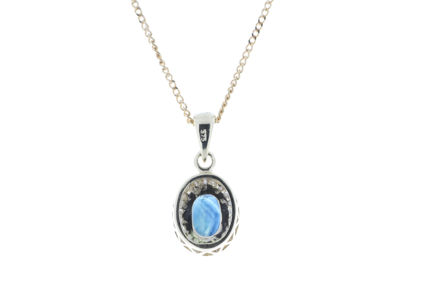 Lot 48 - 9ct Yellow Gold Diamond And Sapphire Pendant 0.11 Carats