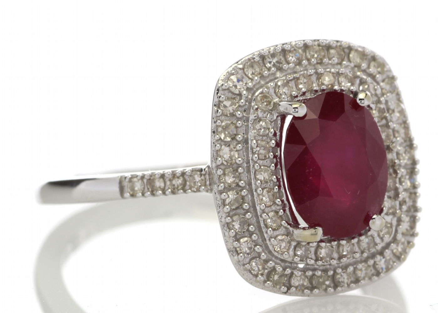 Lot 41 - 9ct White Gold Oval Ruby And Diamond Cluster Diamond Ring 0.33 Carats