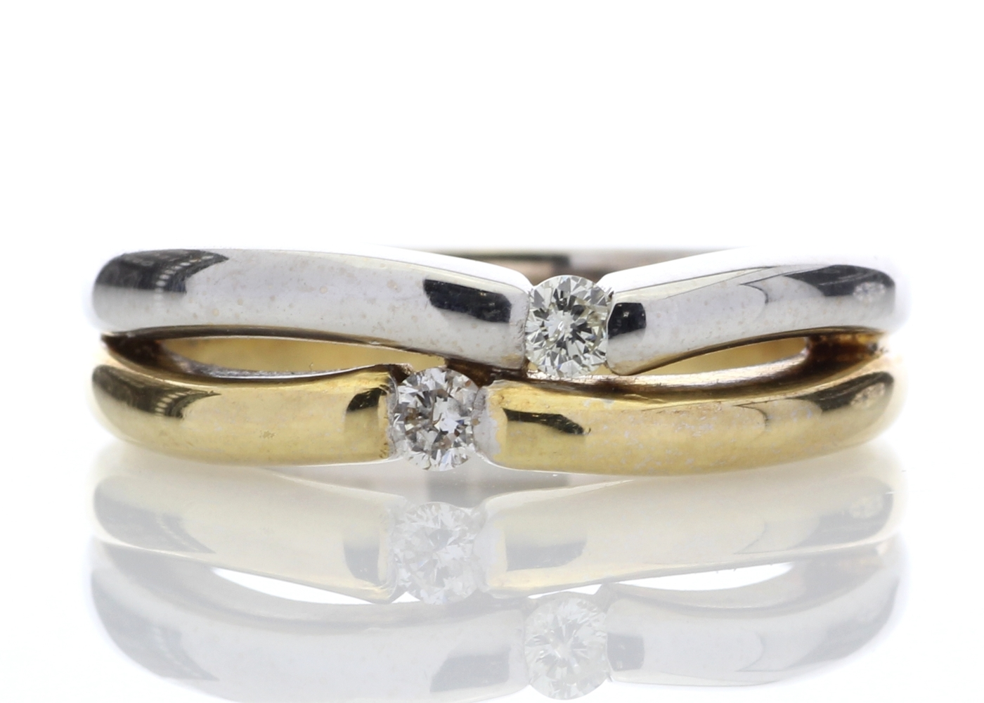 Lot 4 - 18ct Two Stone Rub Over Set Diamond Ring 0.15 Carats