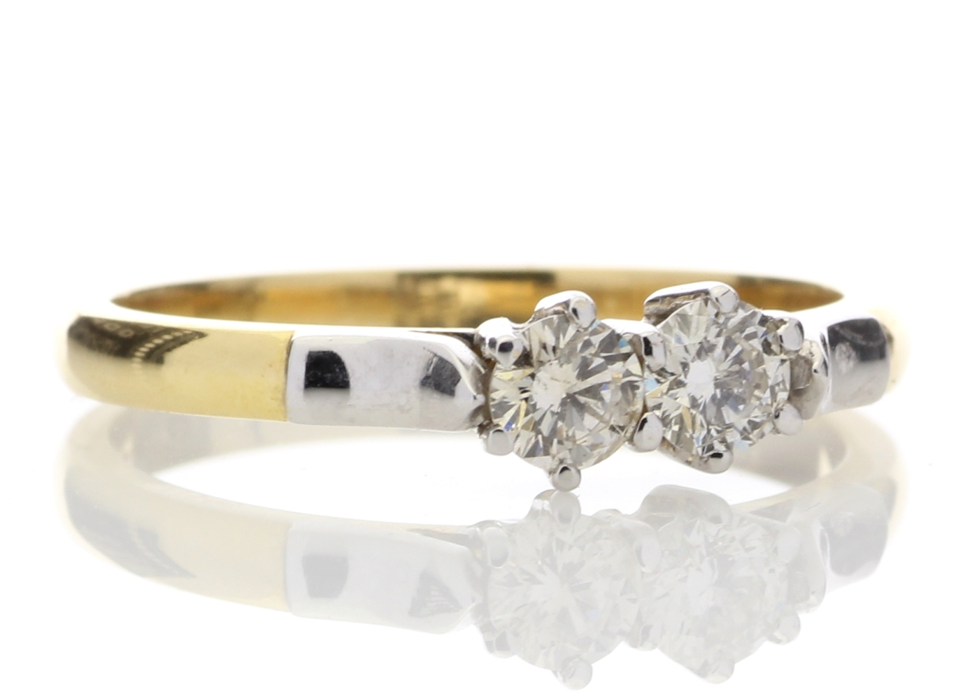 Lot 3 - 18ct Two Stone Claw Set Diamond Ring 0.33 Carats