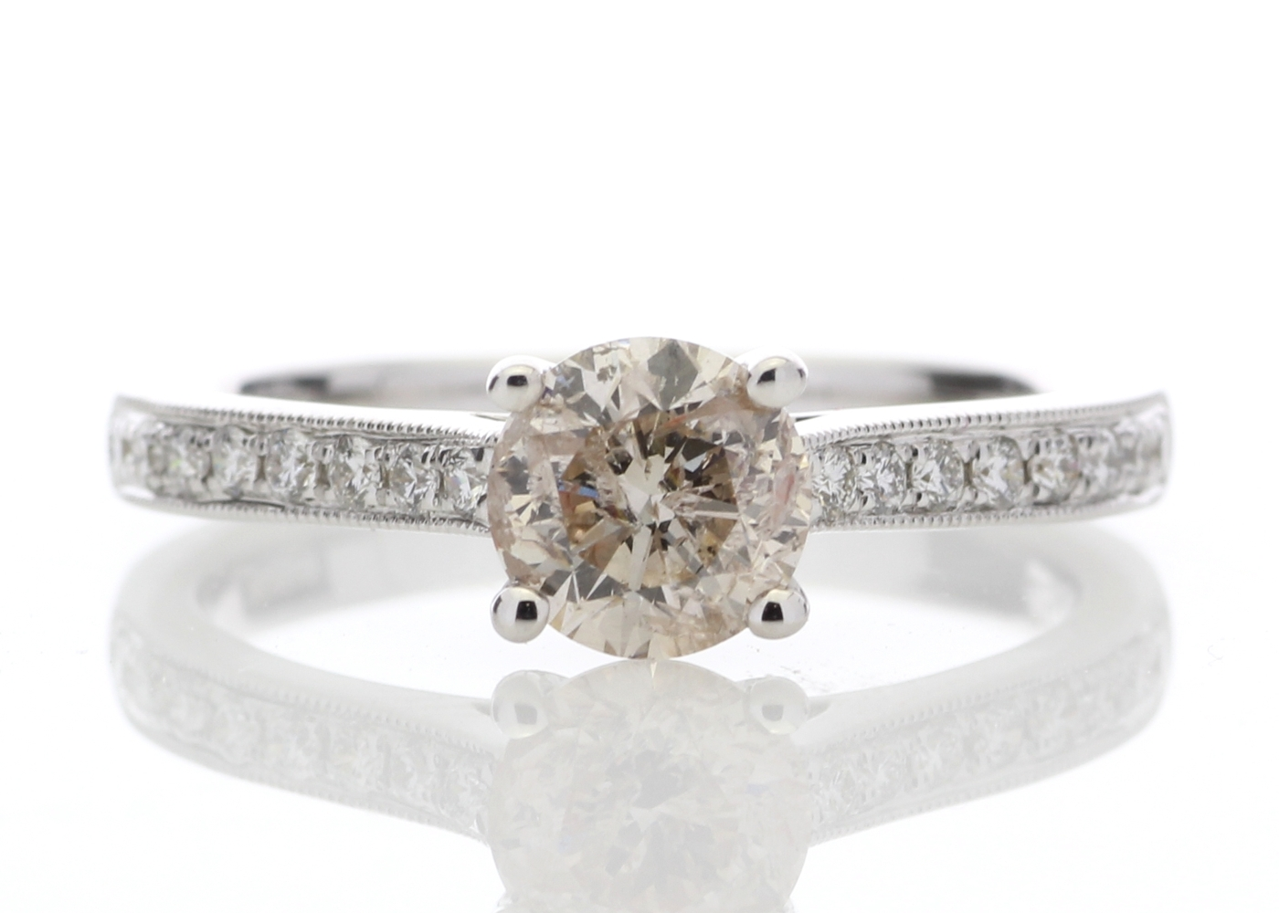 Lot 10 - 18ct White Gold Claw Set Diamond Ring 1.09 Carats
