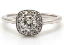 18ct White Gold Diamond Ring With Halo Setting 0.69 Carats