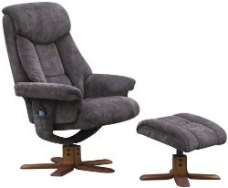 Brand new boxed cannes reclining swivel chair and stool in charcoal grey fabric