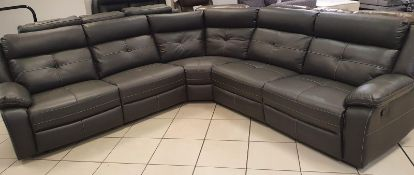 Brand new boxed langdale grey leather reclining corner sofa
