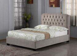 Brand new boxed 4.6 (double) messidy bedstead in light brown/tan