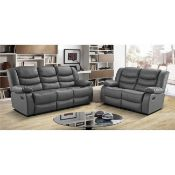 Brand new boxed 3 seater plus 2 seater miami grey leather reclining sofas