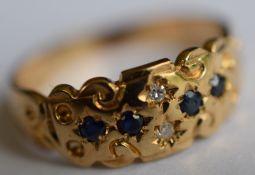 9ct Diamonds And Blue Stones Ladies Ring