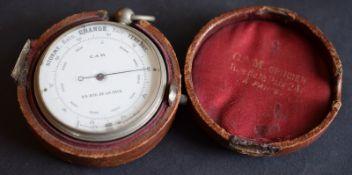Leather Cased Pocket Aneroid Barometer