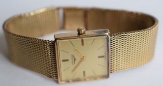 Vintage 9ct Gold Longines Watch On 9ct Gold Bracelet