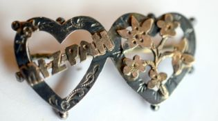 WW2 Era Mizpah Sweetheart Brooch Gold And Silver