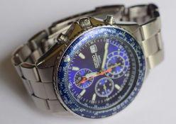 Blue Seiko Flightmaster Chronograph 100m
