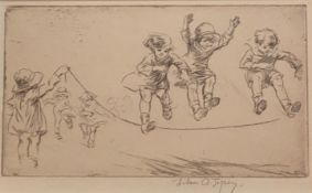 "Eileen Alice Soper signed etching entitled ""Skipping"""