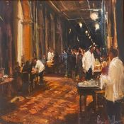 "Rodger Dellar PS RI ROI signed oil painting ""The Florian Café"""