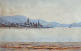 Largs Scotland signed watercolour By Captain George Drummond fish