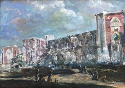 "Kenneth Green 1905-1986 Suffolk artist Large oil painting ""city wall"""