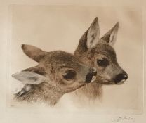 "Kurt Meyer-Eberhardt (1895 – 1977 ) Signed etching ""Fawns"""