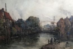 Large Amsterdam Canal view Watercolour by Emily Murray Patterson