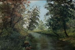 Large oil painting depicting a riverside Signed with an Indistinct signature